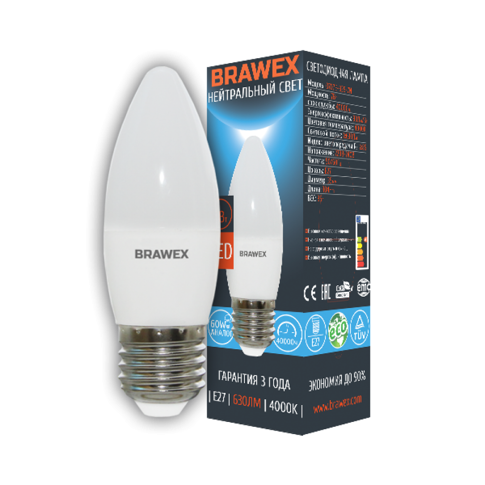 Светодиодная (LED) лампа 7Вт яркий свет B35 Е27