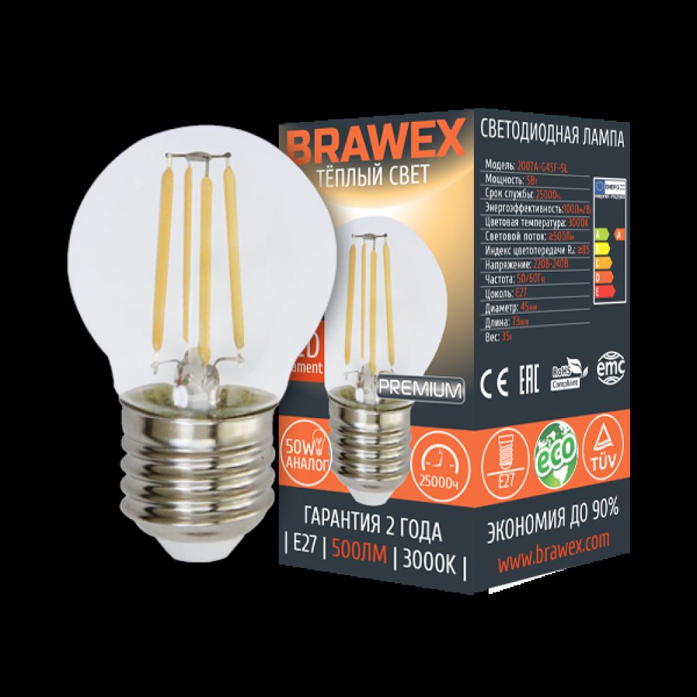 Светодиодная (LED) лампа BRAWEX ФИЛАМЕНТ 5Вт мягкий свет G45 Е27