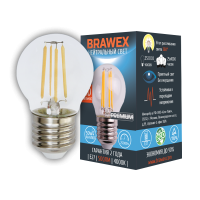 Светодиодная (LED) лампа BRAWEX ФИЛАМЕНТ 5Вт яркий свет G45 Е27