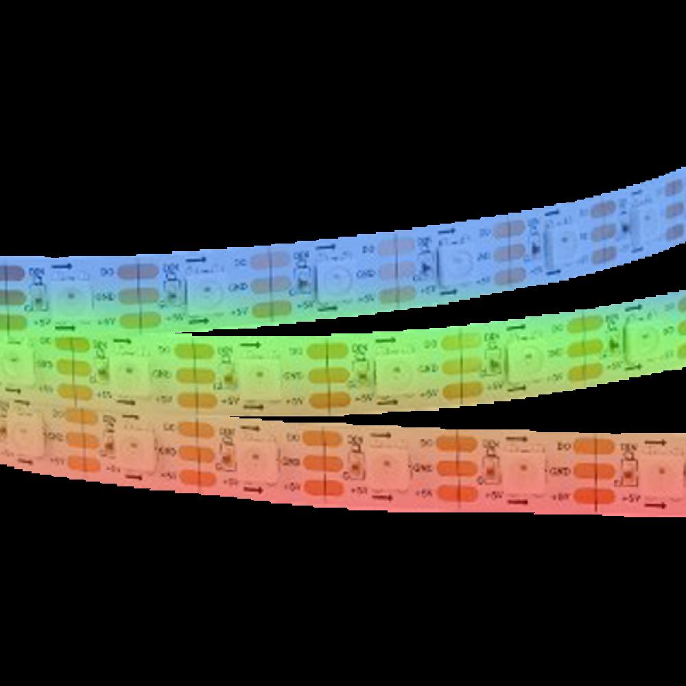 Светодиодная лента: 14.4Вт, 24В, 60шт/м, 5050, многоцветная IP20